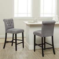 Sopri Upholstered Walnut Linen Counter Chairs (Set of 2)
