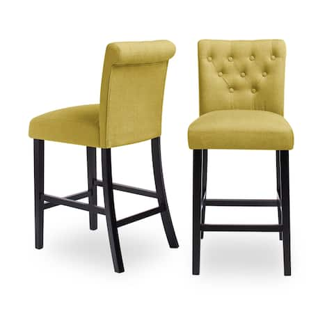 Sopri Upholstered Rolled Back Tufted Counter Chairs (Set of 2)