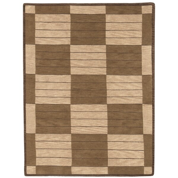 "Grand Bazaar Hand-knotted 100-percent Wool Pile Pyramid Rug in Beige/Dark Gold 3'-6"" x 5'-6"" - 3'6"" x 5'6"""