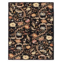 "Grand Bazaar Tufted 100-percent Wool Pile Parisian Rug in Black 3'-6"" x 5'-6"" - 3'-6"" x 5'-6"""