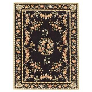 Grand Bazaar Tufted 100-percent Wool Pile Parisian Area Rug in Black (3'6 x 5'6)