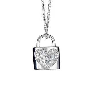 Decadence Sterling Silver Micropave Heart and Lock Pendant with Cubic Zirconia