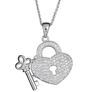 Decadence Sterling Silver Micropave Heart Lock and Key Pendant with Cubic Zirconia