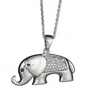 Decadence Sterling Silver Micropave Bull Elephant Pendant