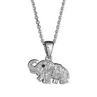 Decadence Sterling Silver Micropave Baby Elephant Pendant with Cubic Zirconia