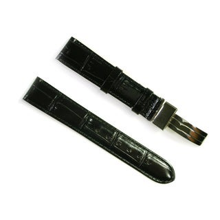 Banda Patel Black Gator-print Italian Leather Deployment Clasp Watch Band