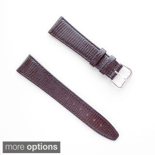 Banda JP Lizard Pattern Brown Italian Leather Stainless Steel Buckle Watch Band