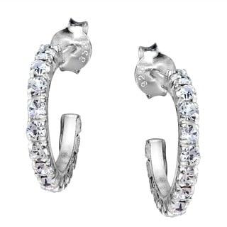 Handmade Aeravida Sterling Silver Cubic Zirconia Half Hoop Earrings (Thailand)