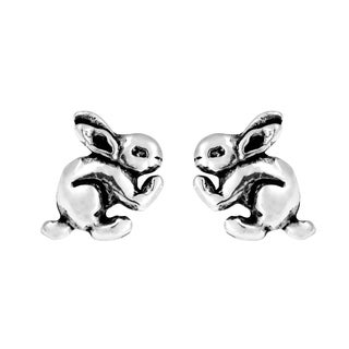 Aeravida Sterling Silver Bunny Rabbit Stud Earrings (Thailand)