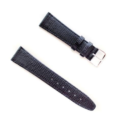 Banda JP Lizard Pattern Black Italian Leather Stainless Steel Buckle Watch Band