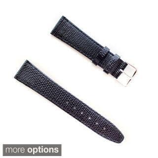 Banda JP Lizard Pattern Black Italian Leather Stainless Steel Buckle Watch Band|https://ak1.ostkcdn.com/images/products/9828031/P16992288.jpg?impolicy=medium