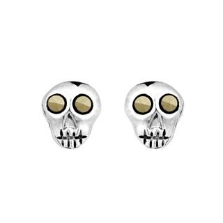 Handmade Mini Punk Skull Marcasite .925 Silver Stud Earrings (Thailand)