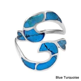 Handmade Divine Om or Aum Symbol Stone Inlay Silver Ring (Thailand)