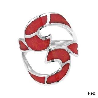 Divine Om or Aum Symbol Stone Inlay Silver Ring (Thailand)