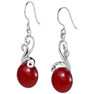 Aeravida Sterling Silver Ethereal Moon Stone Inlay Dangle Earrings (Thailand)