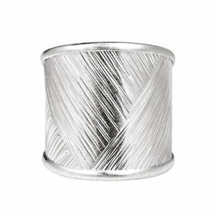 Handmade Modern Zigzag Textures Thai Karen Fine Silver Ring (Thailand)