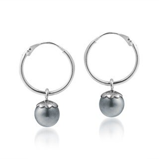 Sterling Silver Spherical Orbits Faux White Pearl Hoop Earrings (Thailand)