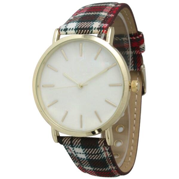 Olivia Pratt Women's Plaid Band Watch