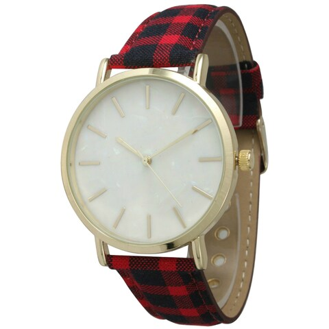 Olivia Pratt Women's Bold Plaid Band Watch