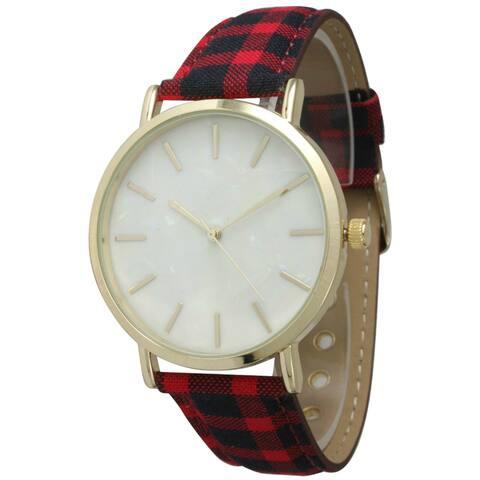 Olivia Pratt Women's Bold Plaid Band Watch