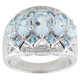 Sterling Silver 2.59 TGW Aquamarine, Swiss Blue Topaz Ring