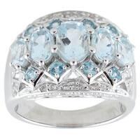 Sterling Silver 2.59 TGW Aquamarine, Swiss Blue Topaz Ring