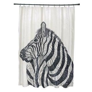 Sketched Zebra Animal Pattern Shower Curtain