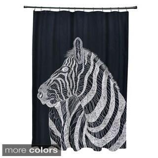 Sketched Zebra Animal Pattern Shower Curtain