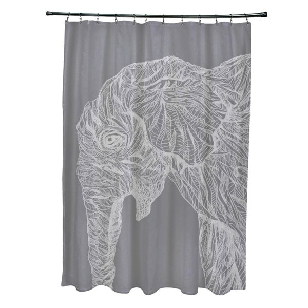 Sketched Elephant Animal Pattern Shower Curtain