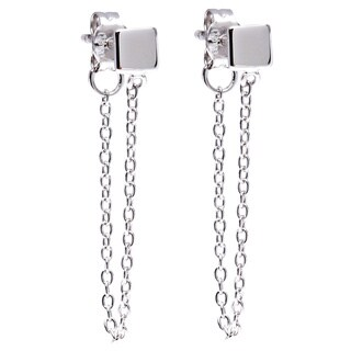 La Preciosa Sterling Silver Square Stud with Hanging Chain Earrings