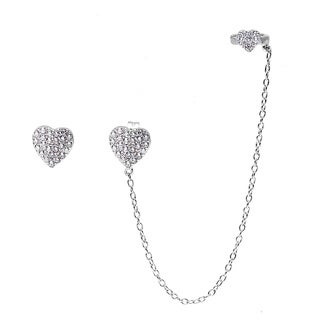 La Preciosa Sterling Silver Micropave CZ Heart Single Stud and Stud with Cuff Earrings