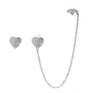 La Preciosa Sterling Silver Micropave CZ Heart Single Stud and Stud with Cuff Earrings