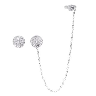 La Preciosa Sterling Silver Micropave CZ Circle Single Stud and Stud with Cuff Earrings