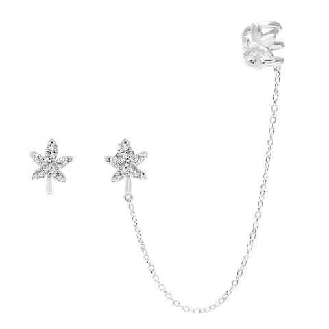 La Preciosa Sterling Silver Micropave CZ Leaf Single Stud and Stud with Cuff Earrings