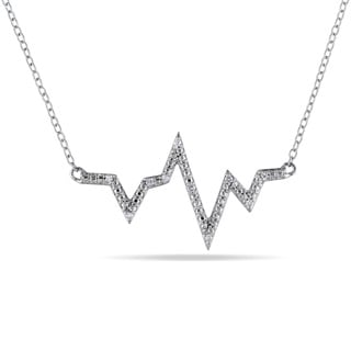 Miadora Sterling Silver Diamond Accent Heartbeat Necklace
