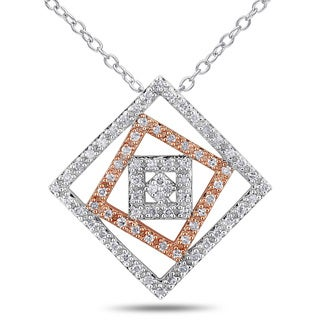 Miadora Sterling Silver 1/5ct TDW Diamond Square Necklace