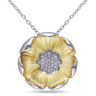 Miadora Two-tone Silver 1/10ct TDW Diamond Flower Necklace