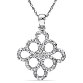 Miadora 10k White Gold 1/5ct TDW Diamond Necklace