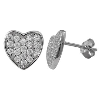 Luxiro Sterling Silver White Pave Cubic Zirconia Heart Stud Earrings
