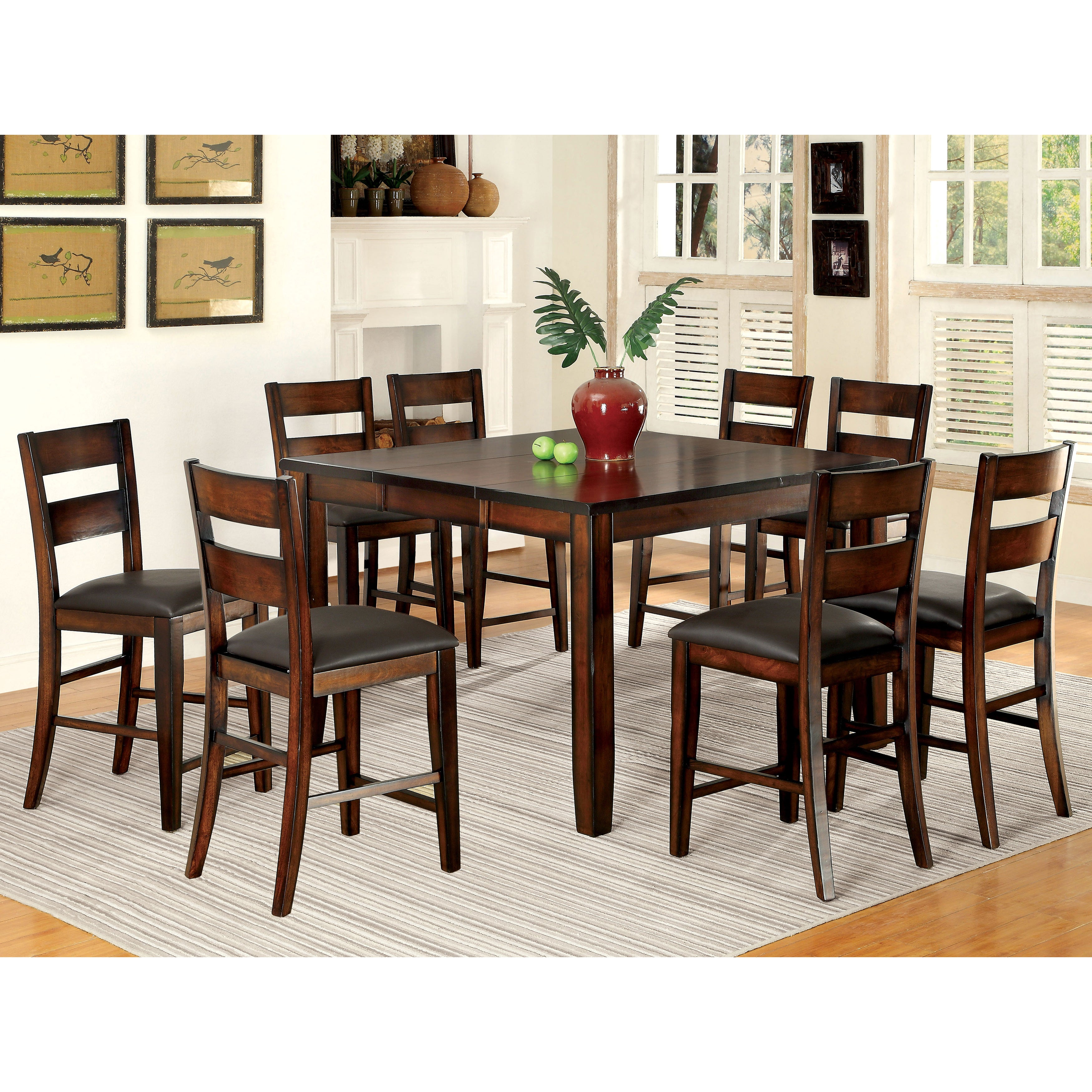 Furniture Of America Paur Modern Cherry 9 Piece Counter Dining Set