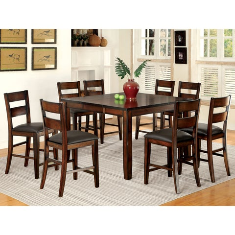 Furniture of America Katrine Dark Cherry 9-Piece Counter Height Dining Set