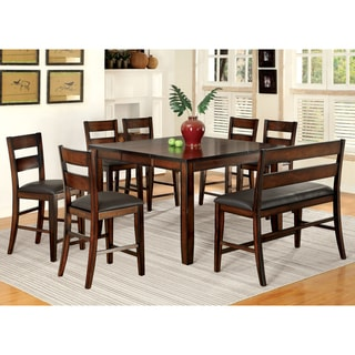 8 chair dining set leather furniture of america katrine dark cherry 8piece counter height dining set buy bar pub table sets online at overstockcom our best