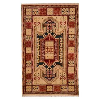 Herat Oriental Indo Hand-knotted Tribal Kazak Khaki/ Red Wool Rug (3' x 5')