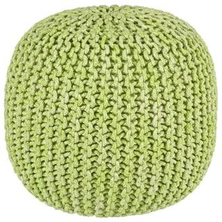 "2-Tone 16"" Green Cotton Rope Pouf"
