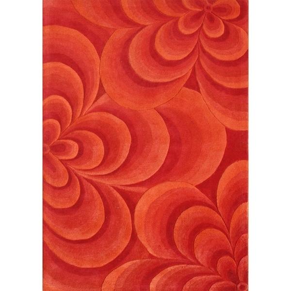 Alliyah Rugs Handmade Hand-tufted Red 3D Flowers New Zealand Blend Wool Rug (8' x 10') - 8' x 10'