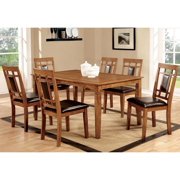 Furniture Of America Bennett 7 Piece Light Oak Dining Set