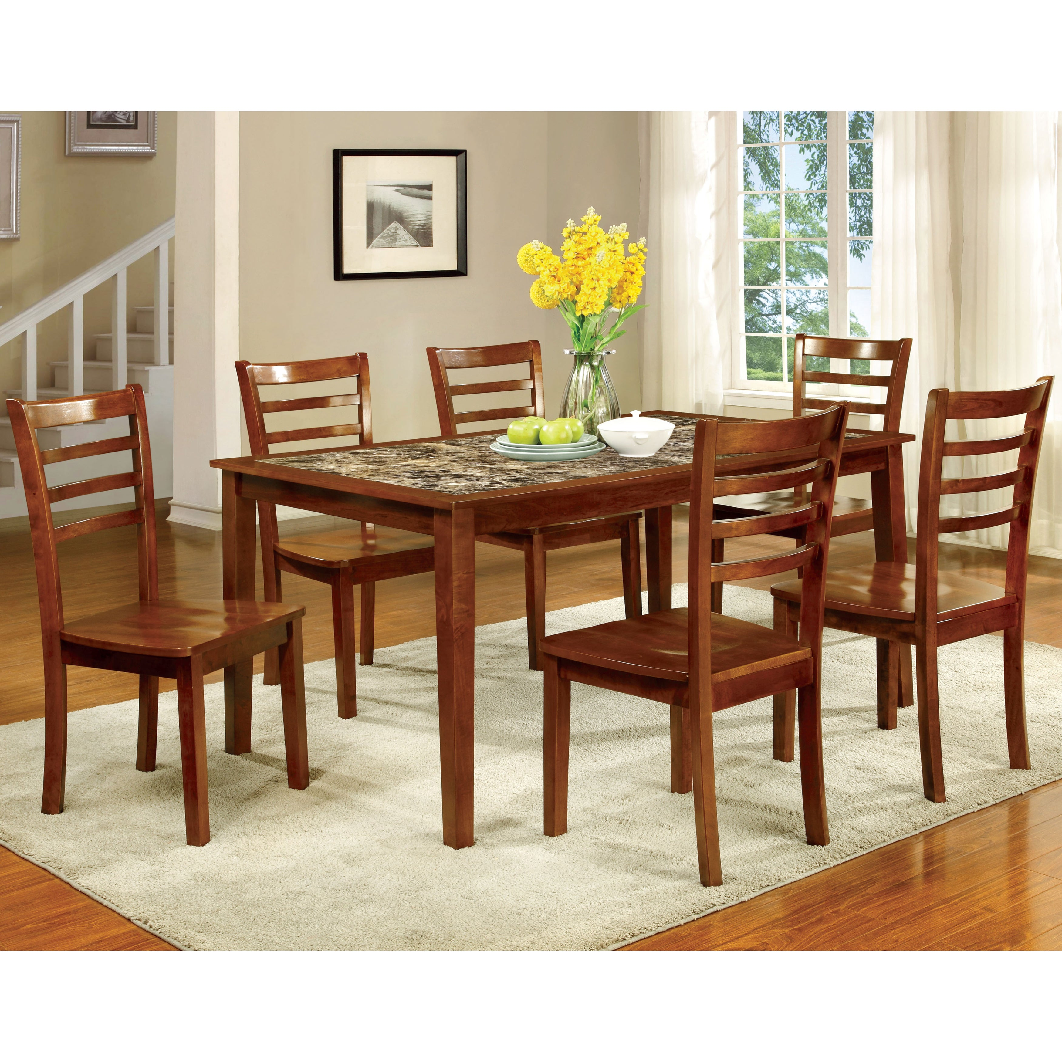Furniture of America Brixen 7-Piece Faux Marble Dining Se...