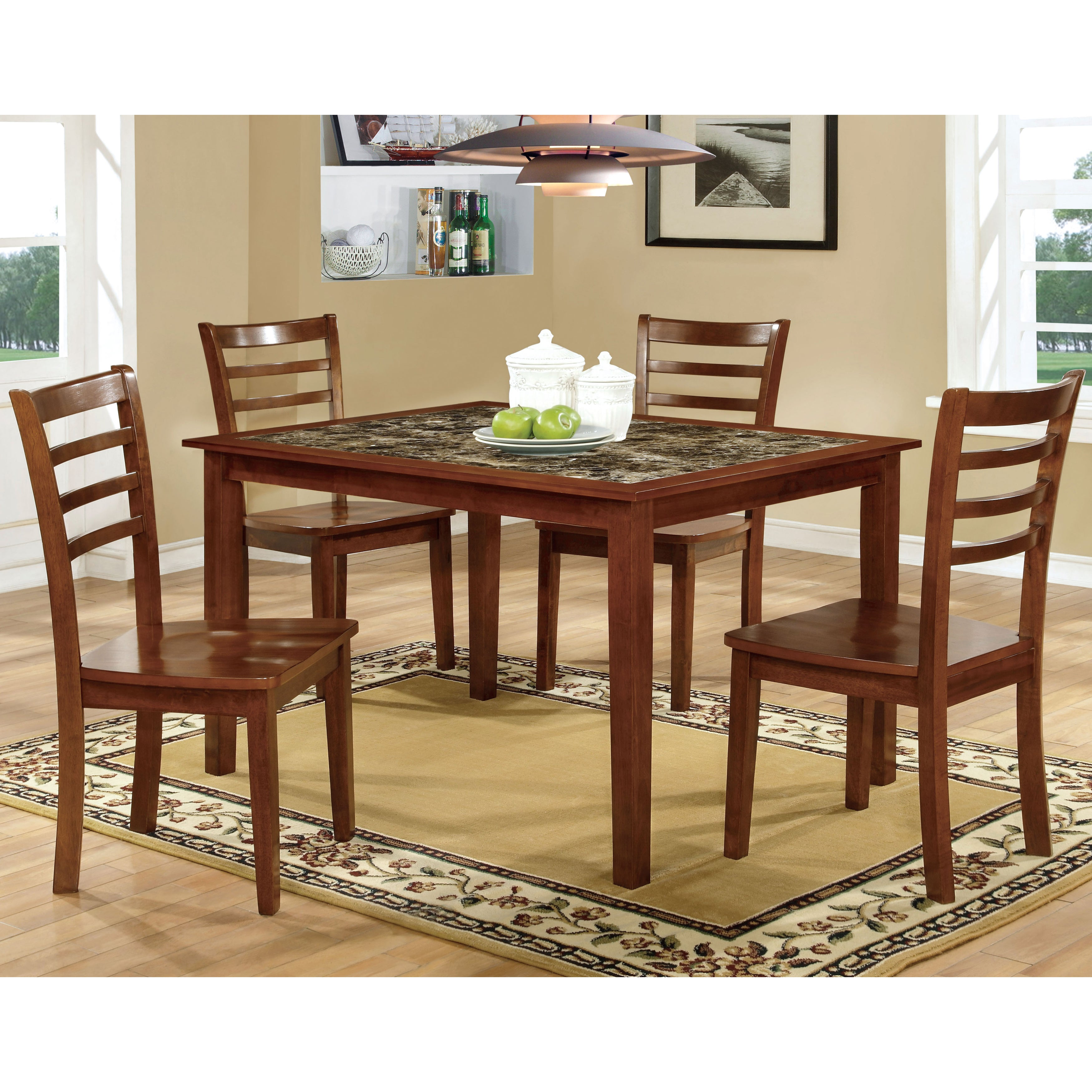 Furniture of America Brixen 5-Piece Faux Marble Dining Se...