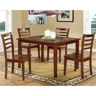 Furniture of America Brixen 5-Piece Faux Marble Dining Set