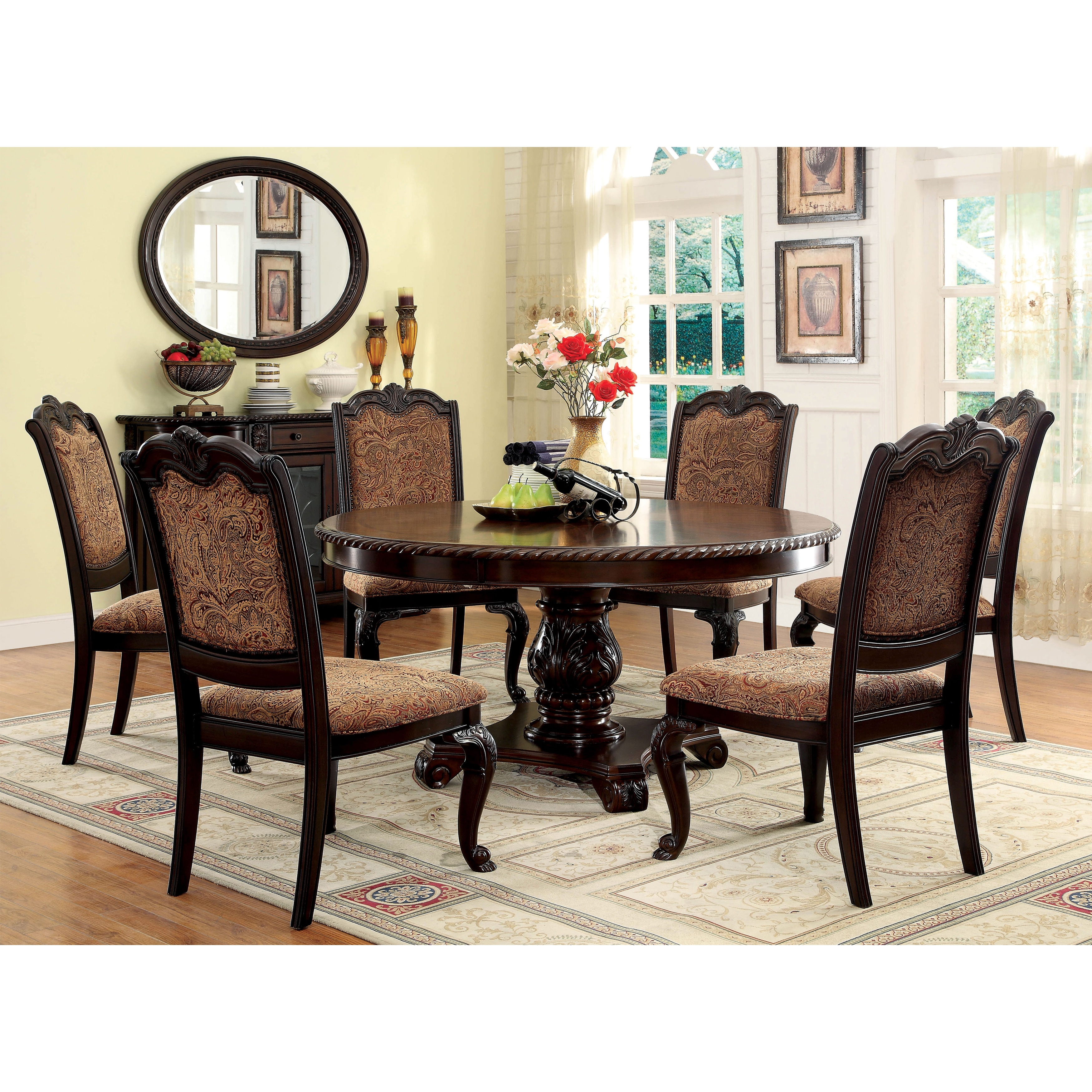 Miraculous Furniture Of America Oskarre Iii Brown Cherry 7 Piece Round Dining Set Caraccident5 Cool Chair Designs And Ideas Caraccident5Info